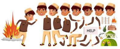 Arabische, Moslim het Jonge geitjevector van de Jongensschooljongen De Reeks van de animatieverwezenlijking Voor Banner, Vlieger, royalty-vrije illustratie