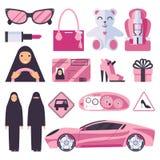 Arabische moslimvrouwen die toestemming voor het drijven van auto hebben Dame in nikab en hijab met roze toebehoren, auto, tekens vector illustratie