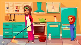 Arabische Muttertochter des Vektors, die zusammen säubert lizenzfreie abbildung