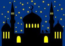 Arabische nacht - moskee royalty-vrije illustratie