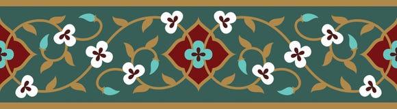 Arabische nahtlose mit Blumengrenze Traditionelles islamisches Design Stockbild