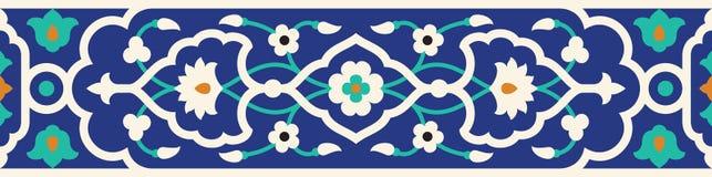 Arabische nahtlose mit Blumengrenze Traditionelles islamisches Design stock abbildung