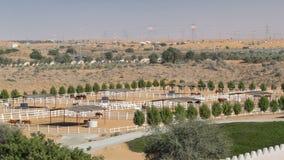 Arabische paardlooppas binnen paddock in de stofwoestijn timelapse, de V.A.E Royalty-vrije Stock Foto's