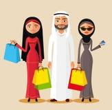 Arabische Paare, die Geschenke und Einkaufstaschen halten Arabische Familie, die zusammen kauft Flache Vektorillustration Lizenzfreies Stockbild