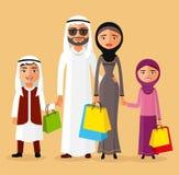 Arabische Paare mit den Kindern, die zusammen kaufen Arabische Familie im Shop Flache Vektorillustration Stockfotos
