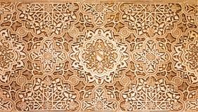 Arabische patroontextuur bij Alhambra paleis Stock Foto