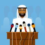 Arabische politicus die vóór verslaggevers en microfoons spreken stock illustratie