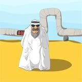 Arabische Sjeik en een Oliepijpleiding Royalty-vrije Stock Foto