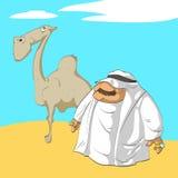 Arabische sjeik en zijn kameel Royalty-vrije Stock Afbeeldingen