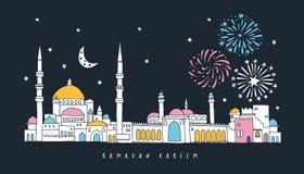 Arabische stad met moskee, huizen, paleis en minarettorens Nachthemel met maan, sterren en vuurwerk Moslimvakantie royalty-vrije illustratie