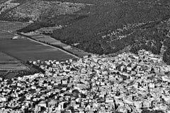 Arabische Stadt in Jezreel-Tal Stockfotos