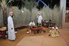 Arabische traditionelle Kaffeestube in Abu Dhabi International Hunting und in der Reiterausstellung (ADIHEX) Lizenzfreies Stockbild
