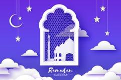 Arabische venstersboog met witte moskee in papercraftstijl De kaart van origamiramadan kareem greeting Toenemende maan en ster royalty-vrije illustratie