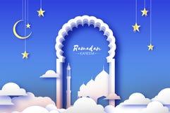 Arabische venstersboog met witte moskee in papercraftstijl De kaart van origamiramadan kareem greeting Toenemende maan en ster stock illustratie