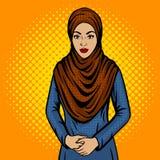 Arabische vrouw in de traditionele vector van het kledingspop-art Royalty-vrije Stock Afbeeldingen