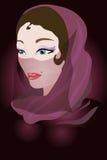Arabische vrouw in een violette sjaal. vector illustratie