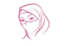 Arabische Vrouw in Hijab-schets vectorart. Royalty-vrije Stock Foto