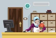 Arabische Werkende Vrouw met Haar Kind Royalty-vrije Stock Afbeelding
