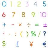 Arabische Zahlen, arithmetische Operationen und Währungszeichen Lizenzfreie Stockfotografie