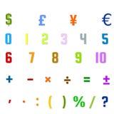Arabische Zahlen, arithmetische Operationen und Währungszeichen Stockfotografie