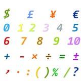 Arabische Zahlen, arithmetische Operationen und Währungszeichen Lizenzfreie Stockbilder