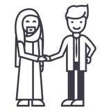 Arabische zaken, vennootschap, vector de lijnpictogram van de zakenliedenhanddruk, teken, illustratie op achtergrond, editable sl stock illustratie