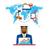 Arabische zakenman en internationale samenwerking royalty-vrije illustratie