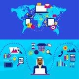 Arabische zakenman en internationale samenwerking Bedrijfs strategie stock illustratie