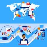 Arabische zakenman en internationale samenwerking Het werkstrategie Van Grafische ontwerp en boekhouding aan beheer royalty-vrije illustratie