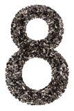 Arabische Ziffer 8, acht, vom Schwarzen eine natürliche Holzkohle, lokalisiert Lizenzfreies Stockfoto