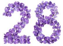 Arabische Ziffer 28, achtundzwanzig, von den Blumen der Viola, lokalisiert Stockbilder