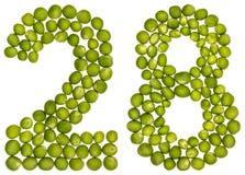 Arabische Ziffer 28, achtundzwanzig, von den grünen Erbsen, lokalisiert auf wh Lizenzfreies Stockbild