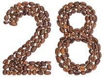 Arabische Ziffer 28, achtundzwanzig, von den Kaffeebohnen, an lokalisiert Stockfotografie