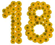 Arabische Ziffer 18, achtzehn, von den gelben Blumen der Butterblume, Lizenzfreie Stockfotografie