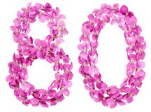 Arabische Ziffer 80, achtzig, von den Blumen der Viola, lokalisiert auf wh Stockfotos