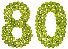 Arabische Ziffer 80, achtzig, von den grünen Erbsen, lokalisiert auf weißem Ba Stockfoto