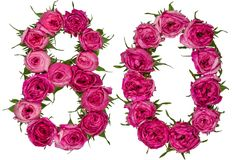 Arabische Ziffer 80, achtzig, von den roten Blumen von stieg, an lokalisiert Stockbilder