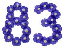 Arabische Ziffer 83, dreiundachzig, von den blauen Blumen des Flachses, Isolator Lizenzfreie Stockbilder