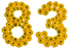 Arabische Ziffer 83, dreiundachzig, von den gelben Blumen von buttercu Stockfoto