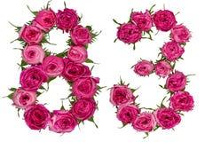 Arabische Ziffer 83, dreiundachzig, von den roten Blumen von stieg, isola Stockbilder