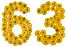 Arabische Ziffer 63, dreiundsechzig, von den gelben Blumen der Butterblume Lizenzfreie Stockfotografie