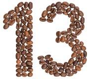 Arabische Ziffer 13, dreizehn, von den Kaffeebohnen, lokalisiert auf Whit Stockbild