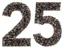 Arabische Ziffer 25, fünfundzwanzig, vom Schwarzen eine natürliche Holzkohle, i Lizenzfreie Stockbilder