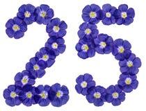 Arabische Ziffer 25, fünfundzwanzig, von den blauen Blumen des Flachses, isola Stockfotos