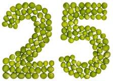 Arabische Ziffer 25, fünfundzwanzig, von den grünen Erbsen, lokalisiert auf whi Lizenzfreies Stockbild