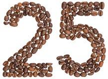 Arabische Ziffer 25, fünfundzwanzig, von den Kaffeebohnen, lokalisiert auf w Stockbilder