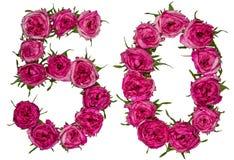 Arabische Ziffer 50, fünfzig, fünf, von den roten Blumen von stieg, isolat Lizenzfreie Stockfotos