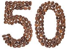 Arabische Ziffer 50, fünfzig, von den Kaffeebohnen, lokalisiert auf weißem b Stockbild