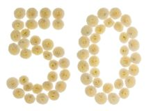 Arabische Ziffer 50, fünfzig, von den Sahneblumen der Chrysantheme, i Lizenzfreie Stockbilder