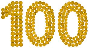 Arabische Ziffer 100, hundert, von den gelben Blumen von Tansy, i Lizenzfreie Stockbilder
